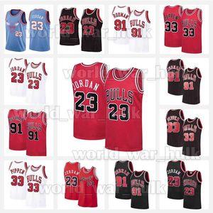 23 Michael MJ Basketball Jersey Bull 91 Dennis Rodman ChicagoJerseys 33 Scottie Pippen 2020 New North Carolina State University