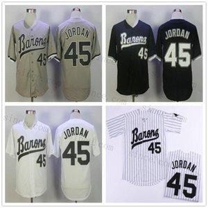마이클 들아 (45) 버밍엄 재벌 야구 유니폼 남성 블랙 화이트 그레이 스티치 영화 MICHAEL 버밍햄 바론 레트로 사용자 정의 이름 번호