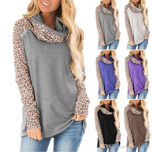 Sleeved Scarf Collar Pullover T Shirts Fashion Womens Tees Womens Designer T Shirts Leopard Panelled Autumn Casual Long