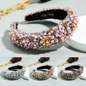 Nova 2020 Moda Pérola Headband esponja acolchoado Gemstone Glitter Bling Cristal Headbands por Mulheres 4 Styles