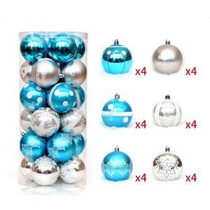 24pcs 6CM PCS Рождественский бал украшения окрашены небьющиеся рождественские украшения