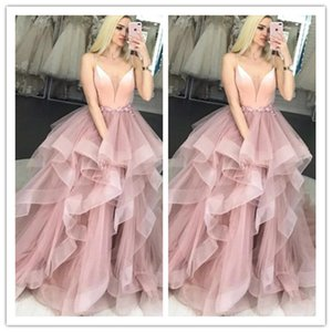 Blush Pink Prom Dress Spaghetti Strap Flowers Tulle Ruffles Evening Gown Girl Party Dress for Graduation Custom Made 2020 robes de soiree