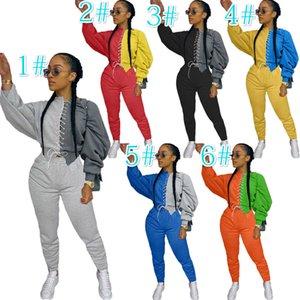 Le nuove donne stilista Tuta a maniche lunghe sexy cuciture a contrasto Top 2piece Outfits signore autunno Hot Pants Abbigliamento casual 2020