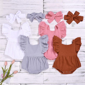 INS Fashions Baby Rompers Linen Cotton Fabric Children Boutique Clothing Newborn Girls Onesies Headbands 2pieces Sets Jumpsuits