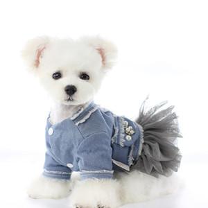 Dog Cat buldogue bonito Teddy Schnauzer Princess Dress Moda Malha Pequeno Vestidos inverno quente ao ar livre Dog Pet Vestuário