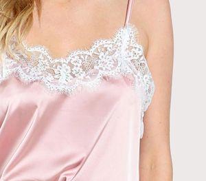 Sleep Wear Women s Sleepwear Sexy Lingerie Satin Set Lace Pyjamas Sleeveless Cami Top and Shorts Babydoll Nightgowns66