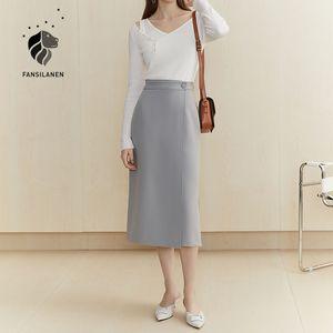 FANSILANEN офис леди высокой талии линии юбка Женщины осень зима белый сексуальный раскол длинные юбки Элегантный обруч черный низ