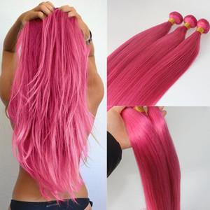 Rosa fúcsia extensões do cabelo humano Hot Cabelo Humano Weaves brasileira Hetero Virgin Cabelo 100gram / peça a melhor qualidade