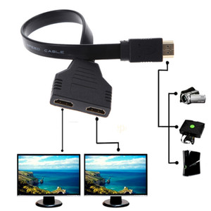 wholesale 2 Port HDMI Splitter 1 In Out Male to Femal Video Cable Adapter Switch Converter For Audio TV 100pcs lot