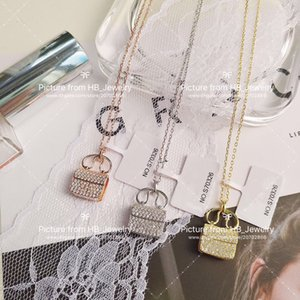 925 Sterling Silver High version bag necklace iced out chains for lady Design Women Party Wedding Lovers gift Jewelry for Bride with box