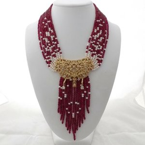 Charming 9strands white freshwater pearl red jade necklace micro inlay zircon accessories pendant long 48-58 cm