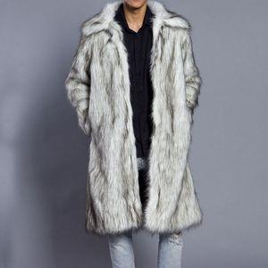 High Quality New Autumn Winter New Men's Square Collar Faux Mink Fur Long Coat High-grade Man Comfortable Thick Warm Windbreaker