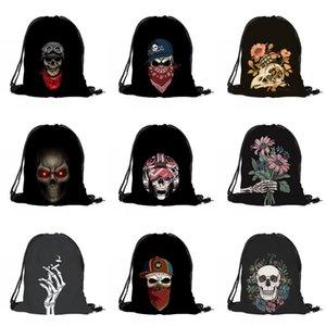 Imprimir cordão Halloween Bag Crânio 3D Digital Bouquet bolso mochila preta Halloween Skeleton Impresso Bag DHL Shipping DHE1074