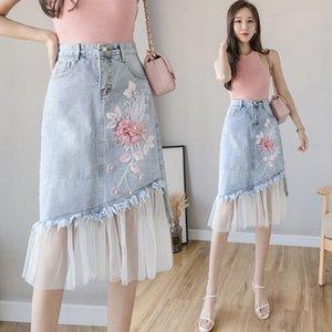 de malla rPSoa OjGXq Denim mujeres One-Step Denim 2020 Summer falda nuevas mujeres de costura de una sola etapa falda bordado tridimensional A- forma de M