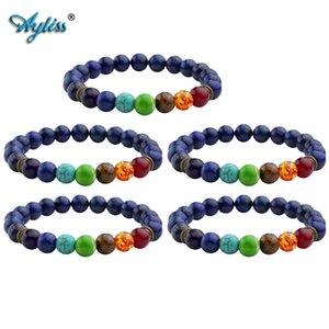 Ayliss a granel de joyería 7 Chakra piedra de gema de la pulsera de la pulsera teñido lapislázuli piedra curativo de equilibrio de Ronda