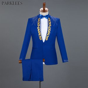 Diamond Royal Blue Men Suit Set Gold Embroidered Wedding Mens Slim Fit Tuxedo Mens Suits with Pants Prom Show Stage Costume Male LJ200923