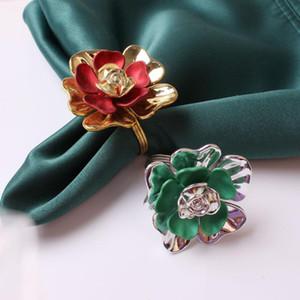 12pcs / lot Çift Gül Çiçek Peçete Halkası Çiçek Peçete Düğme Yüzük Düğün Otel Masa Düğme