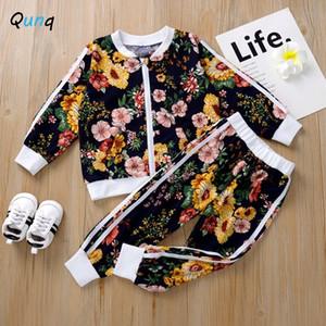 Bebek Kız Spor Fermuar pantolon ceket 2adet Çiçek Çocuk Giyim Kız 2020 Yeni Bahar Casual Çocuk eşofman X0923 Fall Suits
