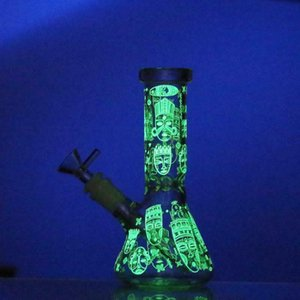 New design glass bong glow in the dark glass beaker bongs double recycling oil rig dab glass water pipe