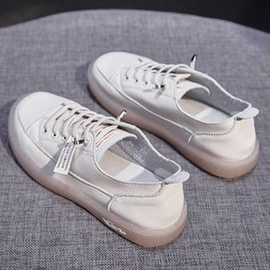 small white shoes women 2020 new autumn versatile soft leather cattle tendon soft sole pregnant flat sole single shoe board leisure trend