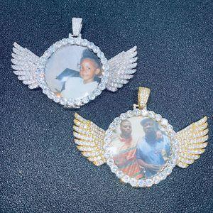Hip Hop Photo Frame Memory медальоны Angel Wing Bling Iced Out Круглый Подвески Ожерелье Мужчины рэппер ювелирные изделия