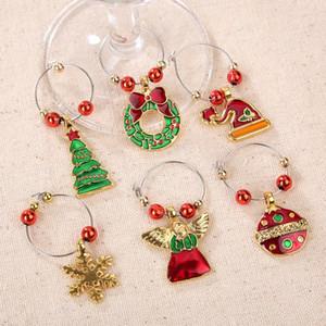 6pcs / set Noel Şarap Cam Dekorasyon Charms Partisi Yeni Yıl Kupası Yüzük Masa Süslemeleri Noel Kolye Metal Halka S1