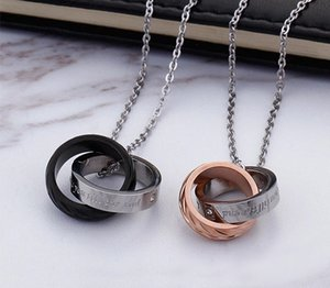 Men and Women Tanabata Creative Valentine Gifts Diamond Double Rings Pendant Titanium Steel Couple11