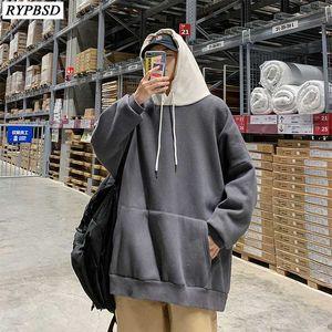 Men Oversized Sweatshirt Korean Fashion 2020 Autumn Loose Solid Color Hooded Harajuku Men Hoodies Streetwear Hip Hop Sweatshirts