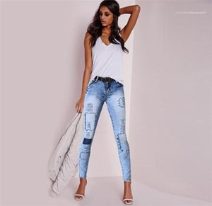 Jeans Females Demin Fashion Street Style Casual Pant Women Sexy Slim Pencil Pants OL Designer Hole Panelled Light Washed