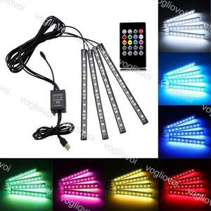 Bande LED 12PCS Atmosphère de voiture 4PCS Atmosphère de la voiture Lumière Dash Plancher LED Strip Light Light Light USB Lampe de contrôle Set DHL
