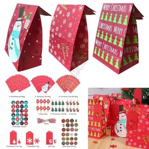 Christmas Candy Dessert Paper Bag Sticker Packaging Gifts Set Kraft Paper Pack Bag Protable Handbag Totes Cookies Candy Stroage Bags D91708