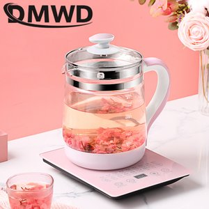 DMWD 1.8L Hervidor eléctrico multifunción de cristal Salud Olla de gachas de avena olla de cocción lenta calentador de agua caliente de calefacción Aislamiento Caldera