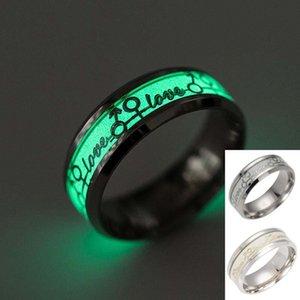 New Love Ring Edelstahl Leuchtringe für Liebhaber im Dunkeln leuchten Ehering Verlobungsringe für Frauen und Sand drop ship