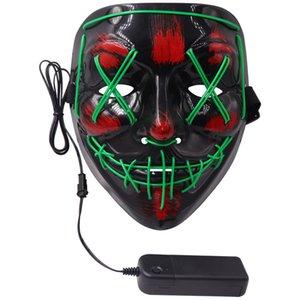 LED Parti EL Tel Kafatası Hayalet Yüz Scary Halloween Glow Masquerade Işık Flaş Parlayan Grimace Korku taraf OWD1749 sahne Maske Maske