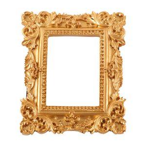 Retro Rectangle Resin Picture Frame Golden Mini Photo Frame Desktop Ornament Jewelry Display for Bedroom