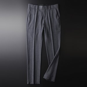 New Autumn Grey Mens Pants High Quality Plaid Solid Color Men's Trousers Fashion Slim Fit Business And Casual Male Pants