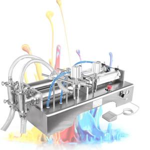 máquina de llenado de líquido de doble cabeza Horizontal máquina de llenado de líquido 220V110V doble boquilla de la máquina de llenado cuantitativa pistón neumático 10