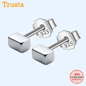 Trusta 100% 925 joyería de plata esterlina 1Pair Small Solid Bloques Stud pendientes de la manera regalo para las chicas adolescentes Niños Señora DS1278