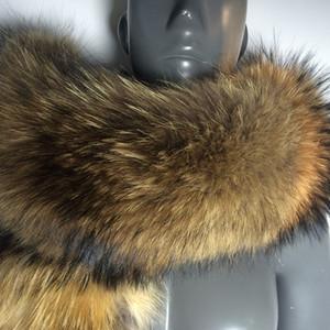 Collar Soperwillton real bufanda de la piel mujeres de la piel de invierno bufandas de lujo de la caliente mapache Invierno calentadores del cuello # BF01