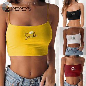 2020 Women Sport Bra No Chest Pad Cute Flowers Letter Printed Tank Top Underwear Strap Running Wear Fitness Gym Crop Vest Tops