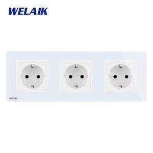 WELAIK 3Frame-europeu-Standard Power-soquete Glass-Panel UE Wall-soquete de parede saída 16A-soquete AC110 ~ 250V A38E8E8EW