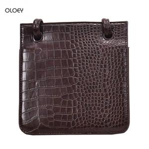 OLOEY mode sac à main de haute qualité femme crocodile sac carré rétro Un simple sac Messenger multi-couche épaule double