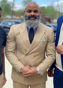 Abotoamento Groomsmen pico lapela do noivo smoking Champagne Men ternos de casamento / Prom / Jantar melhor homem Blazer (jaqueta + calça + gravata) K597