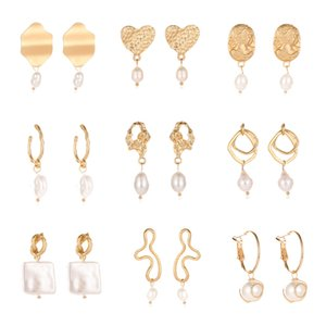 New style earrings Fashion Asian gold hollow earrings Simple and cool geometric freshwater pearl metal earrings