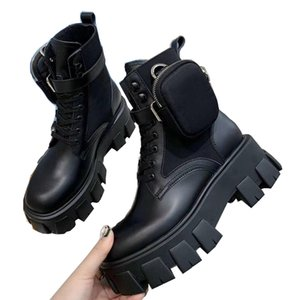 Новое прибытие щеткой Rois кожи боя нейлон ботинки женщин зима мартин Bottes черные платформы лодыжки пинетки со съемным мешком