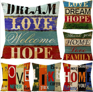 Pillow Case Vintage Painted Letters Pillowcase Cover Linen Throw Pillow Cushion Cover Without Stuffing Home Decoration Pillowcase DHC378