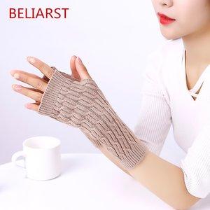 BELIARST 2020 printemps et en automne Nouveau tricot chaud Gants Mode femme Gants Twisted Finger moitié clavier en option