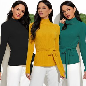 Ladies Turtleneck Long Sleeve Base Soft T-shirt 2020 Girls Pure Color Slim Basic Undershirt T-shirt Lace-up Top Women
