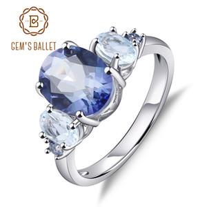 Gem's Ballet Solid 925 Sterling Silver Fine Jewelry 2.36Ct Natural Iolite Blue Mystic Quartz Sky Blue Topaz Rings For Women