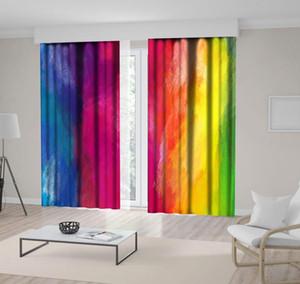 Vorhang Bunte Regenbogen-abstrakte Pinselstriche Ölgemälde in Vibrant Modern mit Grafik Printed Blau Rosa Gelb Grün